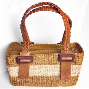 Wicker Woven Straw Handbag Striped